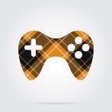 Orange, black tartan isolated icon - gamepad Royalty Free Stock Photos