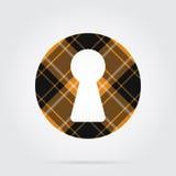 Orange, black tartan isolated icon - keyhole Royalty Free Stock Images