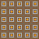 Orange, Black and White Polka Dot Square Abstract Design Tile Pa Stock Photo