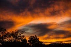 Orange Black and White Sunset View Royalty Free Stock Photo