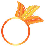 Orange blank frame ring with feathers Stock Photography