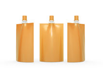Orange blank juice  bag packaging with spout lid, clipping path Stock Image