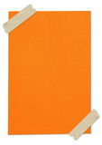 Orange blank paper stuck with brown tape Royalty Free Stock Photo