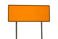 Orange Blank Rectangle Road Sign Isolated on White Stock Photography