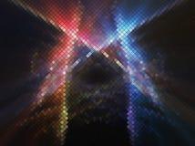Orange blaue Kontrastzusammenfassungsnacht beleuchtet quadratisches Pixel MO der Disco Stockbilder