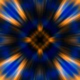 Orange blauer Hintergrund mit kosmischen Strahlungen Lizenzfreies Stockfoto
