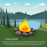 Orange blazing campfire by beautiful lake in evening with copyspace for text. Orange blazing campfire by beautiful lake in the evening with copyspace for text Stock Photo