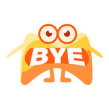 Orange Blob Saying Bye, Cute Emoji Character With Word In The Mouth Instead Of Teeth, Emoticon Message. Cartoon Abstract Emoticon With Text In Flat Vector vector illustration