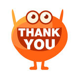 Orange Blob Saying Thank You, Cute Emoji Character With Word In The Mouth Instead Of Teeth, Emoticon Message Stock Photos
