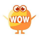 Orange Blob Saying Wow, Cute Emoji Character With Word In The Mouth Instead Of Teeth, Emoticon Message. Cartoon Abstract Emoticon With Text In Flat Vector stock illustration