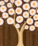 Orange blommande träd på brunt Royaltyfria Bilder