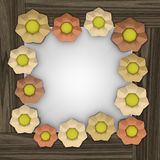 Orange blossom square frame on wooden surface Stock Images