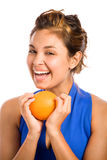 Orange & Blue 1. Healthy Girl Holding an Orange Stock Photography