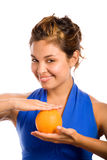 Orange & Blue 2. Healthy Girl Holding an Orange Royalty Free Stock Photography