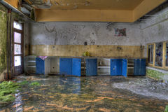Orange and blue abandoned kitchen. That kitchen need some cleaning time Royalty Free Stock Photography