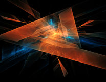 Orange - blue abstract diamond spiral shape on black background Stock Images