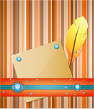 Orange - blue background with feather and paper. Royalty Free Stock Photo