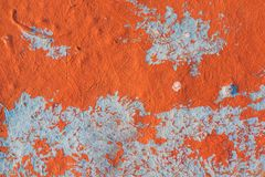Orange and blue background texture. Orange and blue painted background texture on wall Royalty Free Stock Images