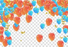 Orange and blue balloons and confetti  party banner with and ser. Pentine , confetti concept design background. Celebration Vector illustration Royalty Free Stock Images