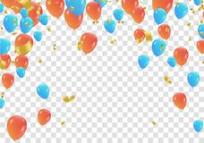 Orange and blue balloons and confetti  party banner with and ser. Pentine , confetti concept design background. Celebration Vector illustration Royalty Free Stock Image
