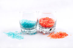 Orange and blue bath salt Royalty Free Stock Image