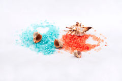 Orange and Blue bath salt Stock Photos