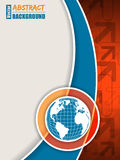 Orange blue brochure with arrows and globe Stock Images