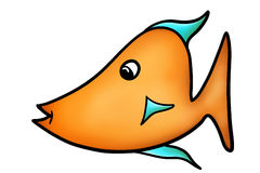 Orange and Blue Cartoon Fish Illustration. This adorable orange and light blue hand drawn cartoon fish is ready for your projects Stock Image