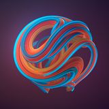 Orange and blue colored twisted shape. 3D render illustration royalty free stock image