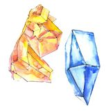 Orange and blue diamonds rock jewelry mineral. Isolated illustration element. stock illustration
