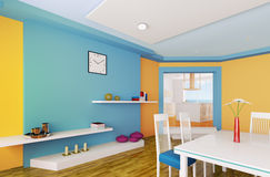 Orange blue dining room 3d render. Interior of modern orange blue dining room 3d render Royalty Free Stock Photos