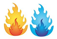 Orange and blue fire. Over white background. vector illustration Stock Photography