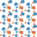 Orange and Blue Fish Seamless Pattern. Vector Stock Images
