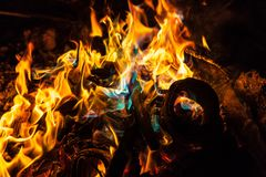 Orange and blue flames of fire Stock Image