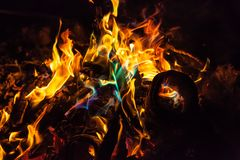 Orange and blue flames of fire Royalty Free Stock Image