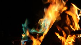Orange and blue flames of fire stock footage