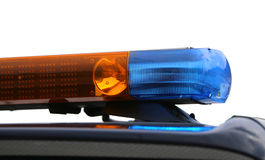 Orange and blue flashing lights of the police car. On white background Royalty Free Stock Photo