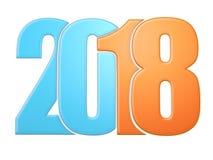 Orange and blue 2018 flat Royalty Free Stock Images