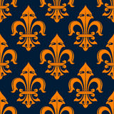 Orange and blue fleur-de-lis seamless pattern Royalty Free Stock Photography