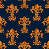 Orange and blue fleur-de-lis seamless pattern Stock Images
