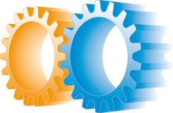 Orange and blue gears Stock Photos