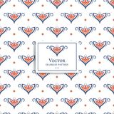 Orange and blue geometric floral seamless pattern with a white background. Ornament. Traditional, Ethnic, Turkish, Indian motifs. Great for fabric and textile Royalty Free Stock Photo