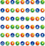 Orange blue and green button icons Stock Image