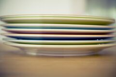Orange Blue and Green Ceramic Plate Stock Photography