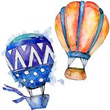 Orange and blue hot air balloons background fly air transport illustration. vector illustration