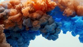 Orange and blue ink splashes in the water, isolated on white background. slow motion stock video footage