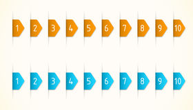 Orange and blue labels. With numbers Stock Photos