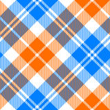 Orange and blue light tartan diagonal seamless pattern Stock Photos