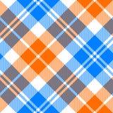Orange and blue light tartan diagonal seamless pattern Stock Photos