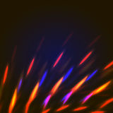 Orange and blue lights abstract background. Vector mystic illustration of bright bokeh shining flares of street evening lights, fireworks and disco ball sparkles royalty free illustration